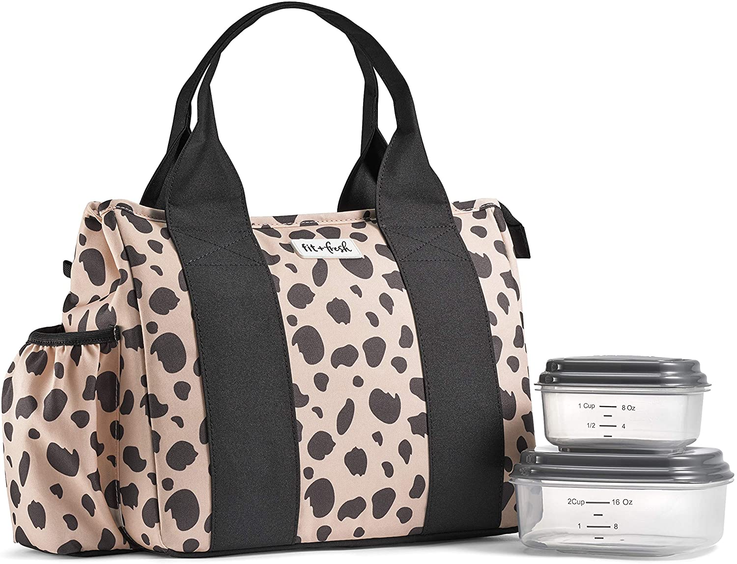 Fit & Fresh Sanibel Two Containers, Cooler, Large Tote, Insulated Box, Thermal Water Bottle Holder, Lunch Bag for Women, Picnic, School, Work (Cheetah)