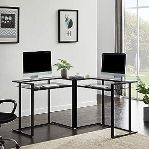 Merax L-Shaped, 56'' Home Office Computer Shelf, Round Corner Glass Workstation Desk, Black