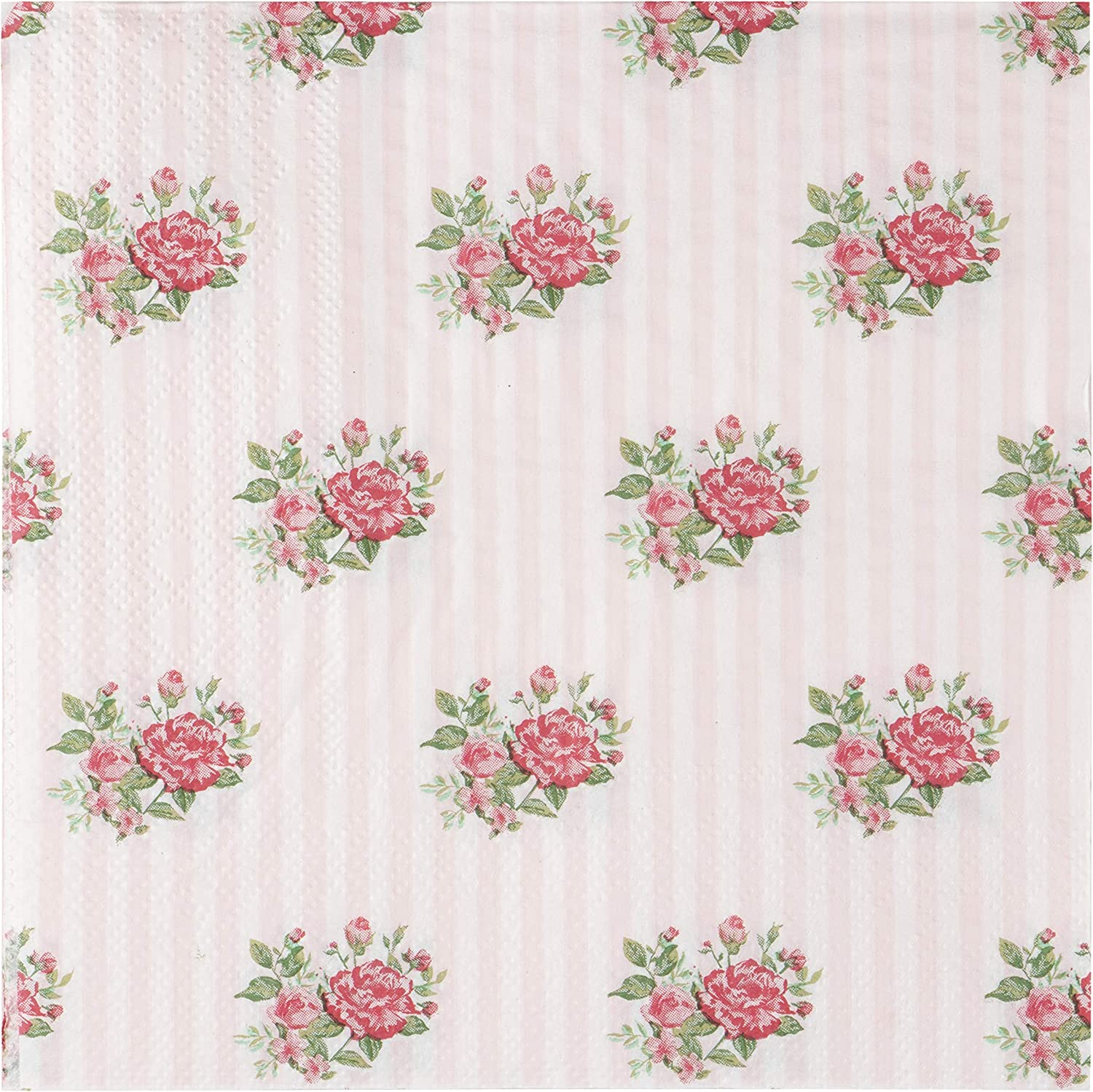 Floral Paper Napkins, Vintage Pink Roses Party Napkins (6.5 Inches, 100 Pack)