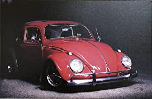 CANVAS PRINT Light Up VW Red Beetle Classic - Led Lighted Canvas Art - Wall Canvas - Canvas Home Decor - Canvas - Gift (H:24