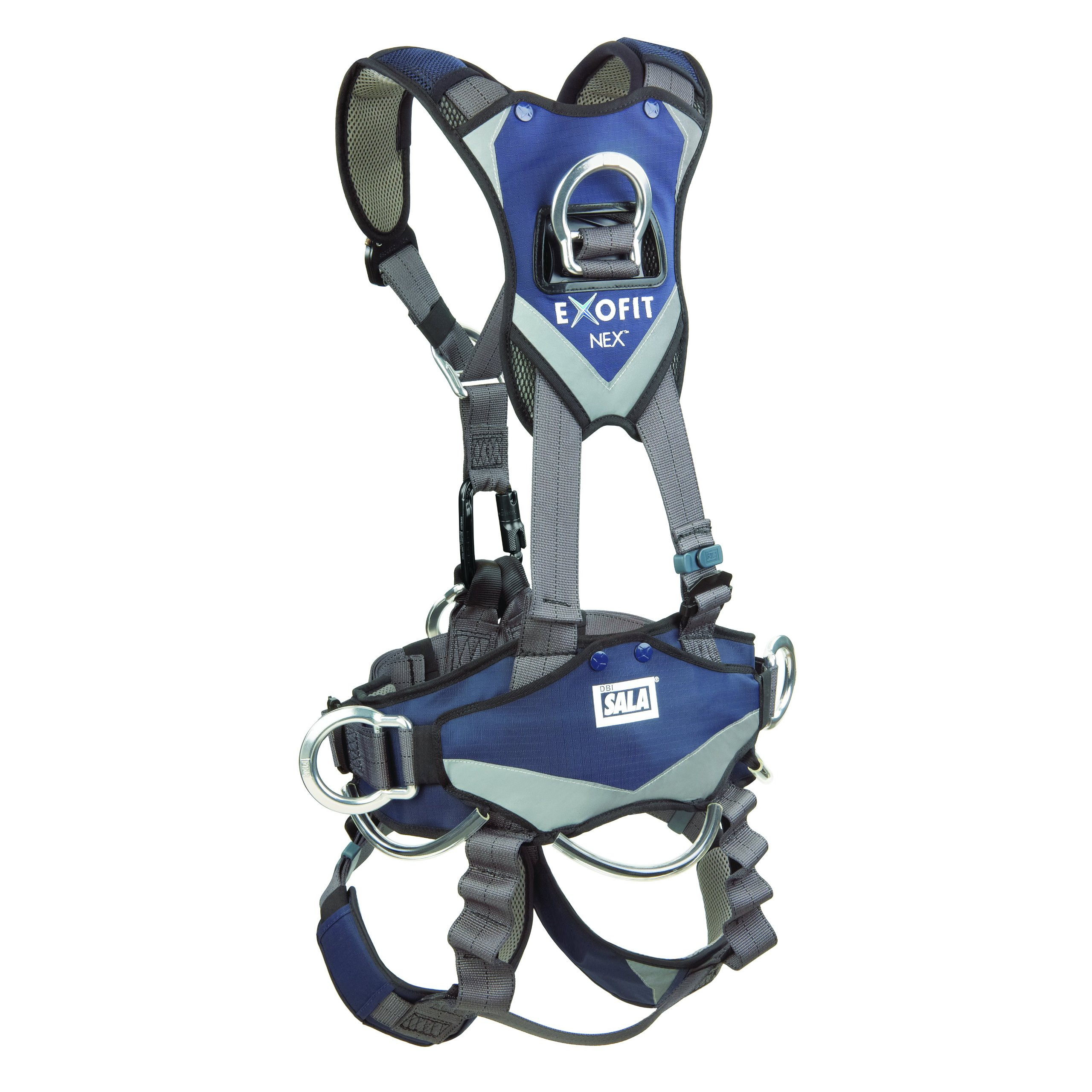 3M DBI-SALA ExoFit NEX 1113346 Full Body Rope Access/Rescue Harness, Alum Back/Front/Suspension D-Rings, Belt w/ Pad/Side D-Rings, Locking QC Leg Straps, Medium, Blue/Grey by 3M Fall Protection Business (Image #2)