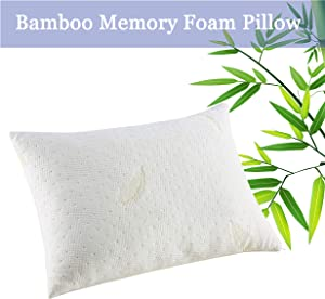 YOUMAKO Bamboo Bed Pillow for Sleeping, King Cooling Shredded Memory Foam Pillow, Adjustable Pillow for Neck Pain with Zipper Removable Case for Side Back Stomach Sleepers (Creamy Yellow)