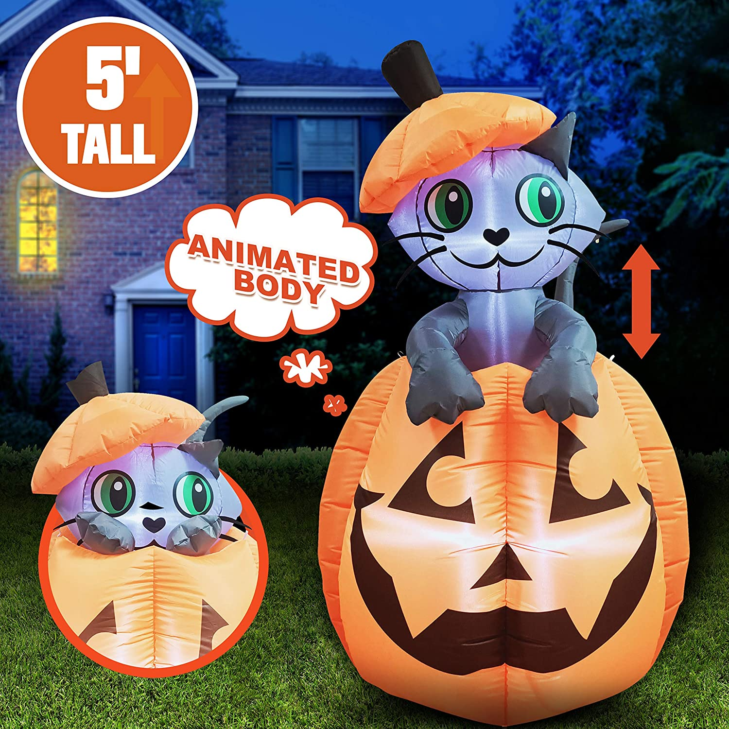 5 Ft Tall Halloween Inflatable Animated Kitty Cat On Pumpkin Inflatable Yard Decoration With Build In Leds Blow Up Inflatables For Halloween Party Indoor Outdoor Yard Garden Lawn Decorations Garden Outdoor