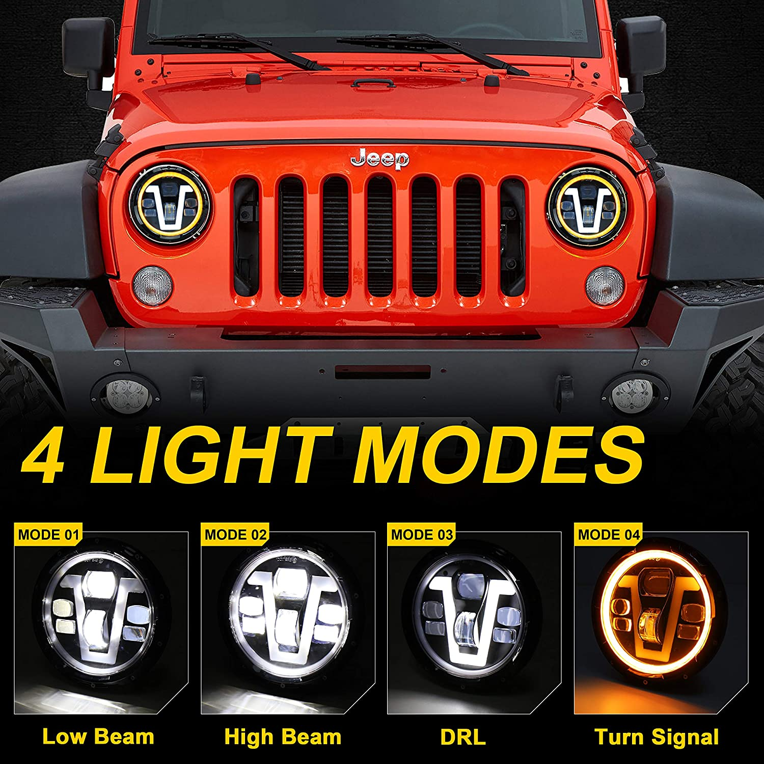 7 inch LED Headlights V Type DRL Turn Signal 50W for Jeep Wrangler Jeep Turn Signal Wiring Diagram on ford 8n wiring diagram, 1960 willys l6-226 12 volt wiring diagram, 1979 jeep wiring diagram, jeep cj5 wiring-diagram, 1986 jeep wiring diagram, simple chopper wiring diagram, 86 cj7 distributor wiring diagram, 2014 jeep wrangler wiring diagram, 1984 jeep cj wiring diagram, 2009 dodge 4500 pto wiring diagram,