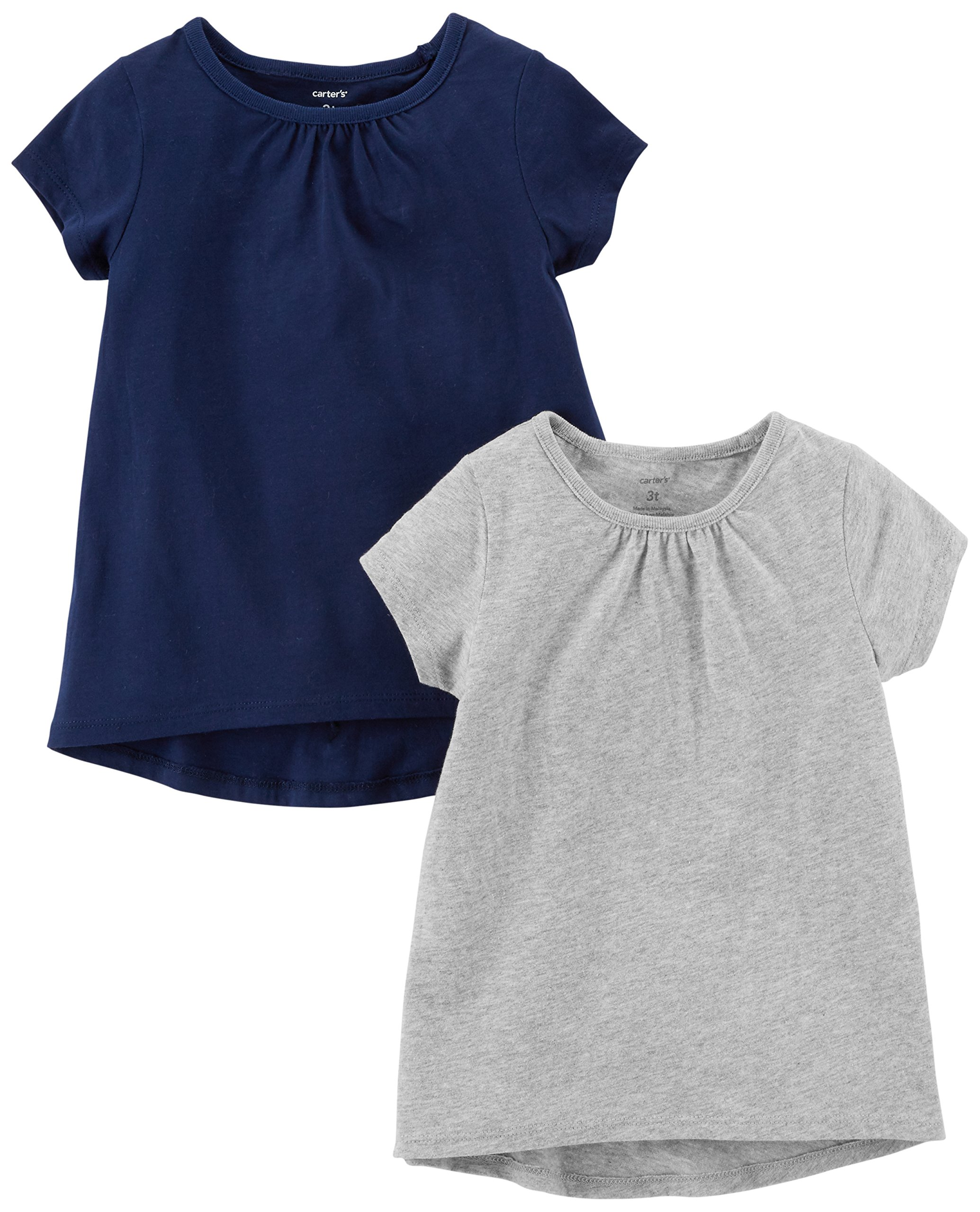 Carter's Girls' Toddler 2-Pack Tee, Navy/Grey, 2T