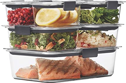 Rubbermaid Brilliance Leak Proof Food Storage Containers With Airtight Lids Set Of 7 14 Pieces Total Bpa Free Stain Resistant Kitchen Dining Amazon Com