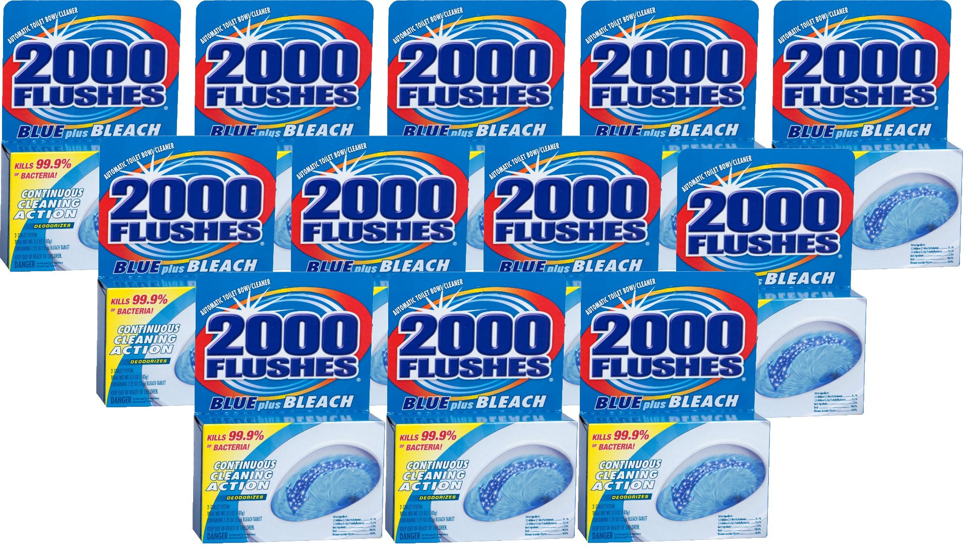 2000FlushesBluePlusBleach Automatic Toilet Bowl Cleaner, 3.5 OZ [12-Pack] by 2000 FLUSHES