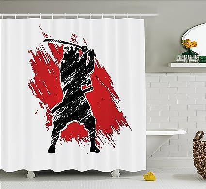 Lunarable Japan Shower Curtain Silhouette Samurai Figure On Vermilion Grunge Style Background Ethnic Tribal