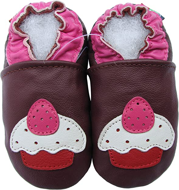 carozoo soft sole leather baby shoes cement truck brown 12-18m