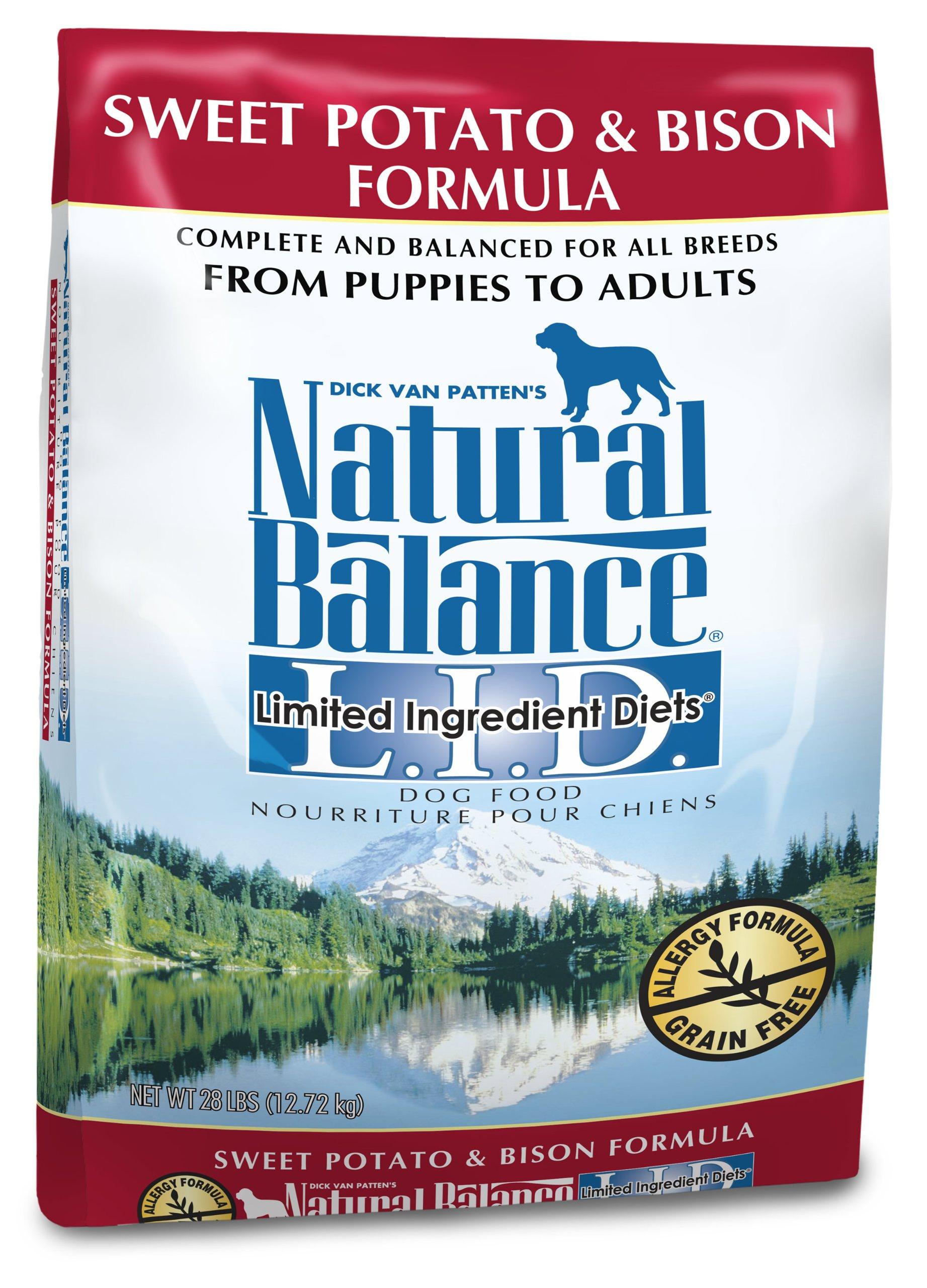 Natural Balance Dry Dog Food, Grain Free Limited Ingredient Diet Bison and Sweet Potato Recipe, 28 Pound Bag