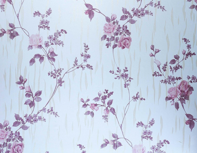 5m Purple Floral Sticky Back Plastic Fablon Furniture Sticker Self Adhesive PVC