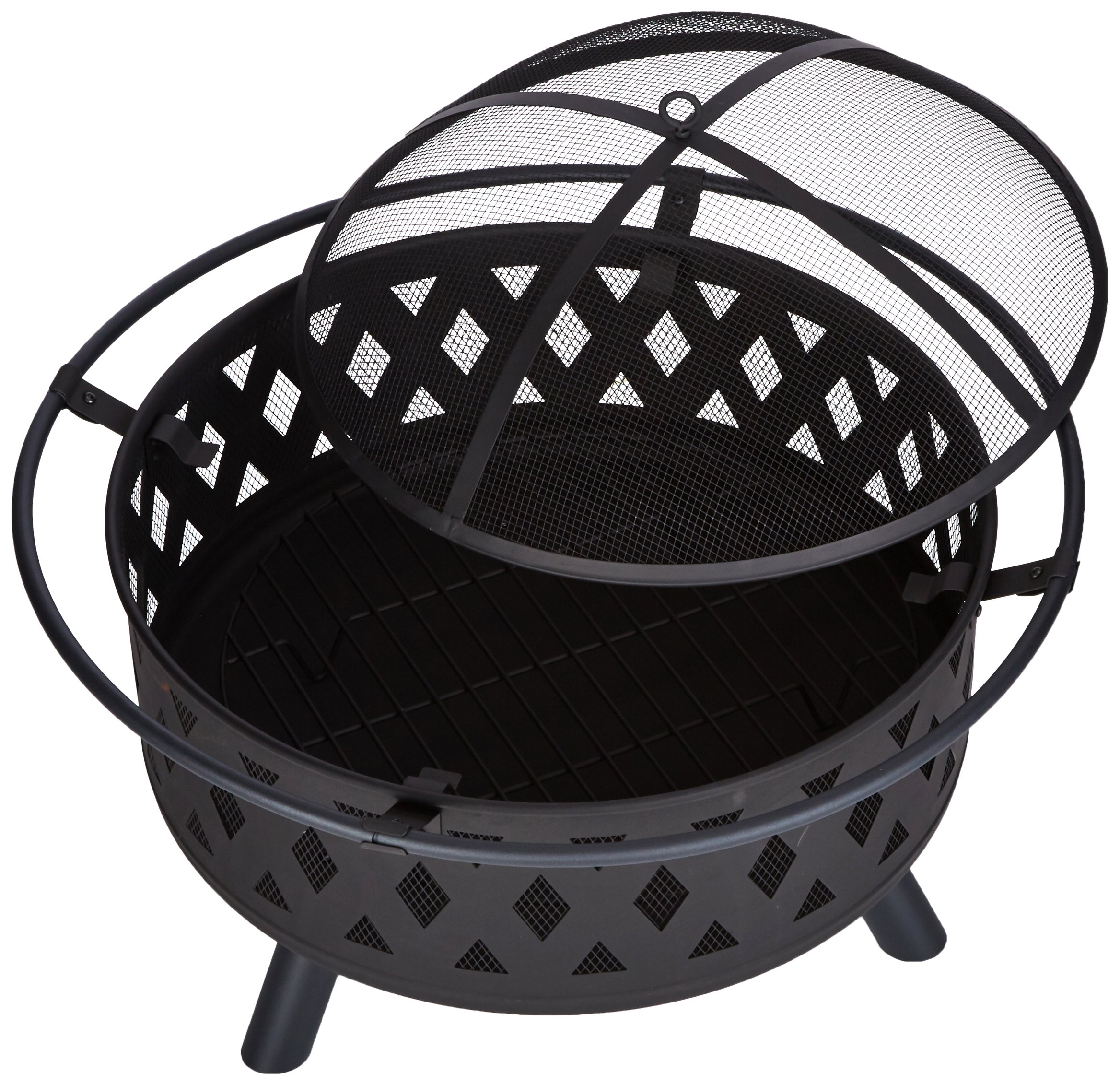 Fire Pit Set, Wood Burning Pit - Includes Screen, Cover and Log Poker - Great for Outdoor and Patio, 32 inch Round Crossweave Firepit by Pure Garden - ULTIMATE OUTDOOR RELAXATION -This Outdoor Fire Pit is an ideal blend of contemporary modern design and natural elements with beautiful cross weave accents. Create lasting memories with family and friends while enjoying a cozy fire. Enjoy roasting s'mores with kids or an adult evening bon fire. The fire pit is sure to be a vivid focal point on your patio or deck for many seasons to come! DURABLE DESIGN-Enjoy your tile wood burning Fire Pit without worry. Made from powder coated steel to resist rust,this fire pit is lightweight and weatherproof for longer lasting outdoor use.The steel leg construction and decorative sturdy design will have long lasting appeal and would be a charming addition to your yard or patio. LOW MAINTENANCE AND EASY SET UP-The Pure Garden Fire Pit is easy to set up and requires very little upkeep. Wood burning for convenient heating. Clean the outside with a slightly damp cloth. No chemicals or cleaning product required. - patio, outdoor-decor, fire-pits-outdoor-fireplaces - 91WPhCCyvqL -