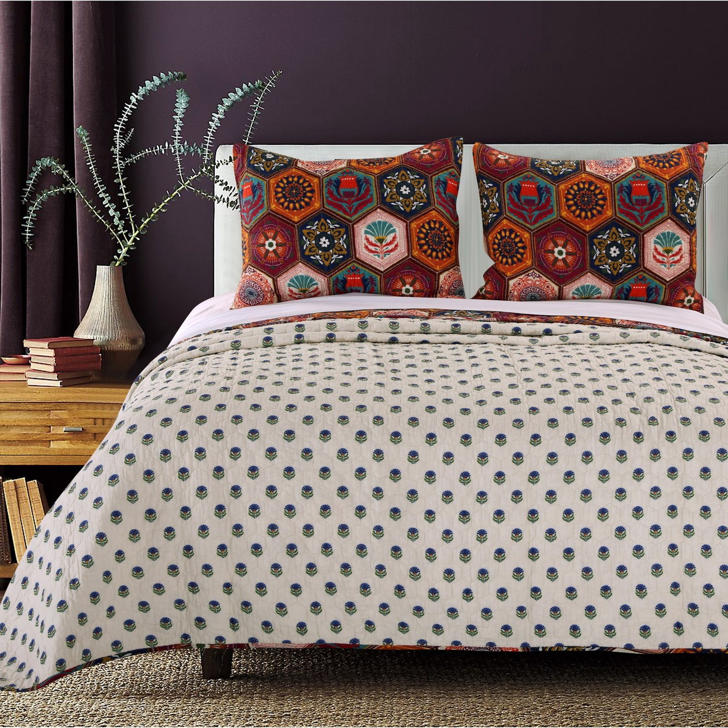 Boho Moroccan Quilt Set with Shams Geometric Pattern Medallion Mandala Earth Tones Orange Brown 100 Cotton Luxury Reversible 2 Piece Twin Size Print Bedding - Includes Bed Sheet Straps by Finely Stitched (Image #3)