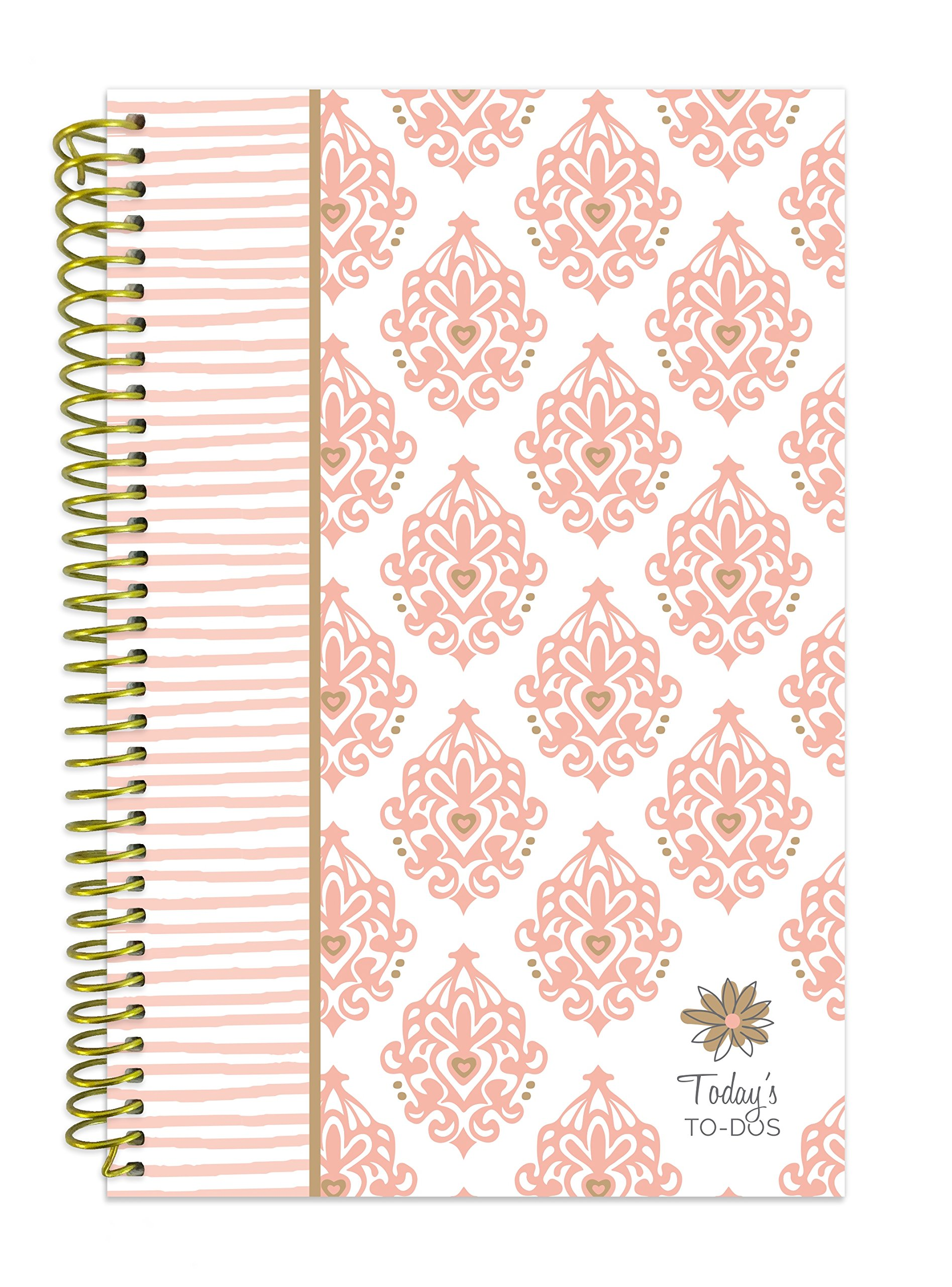 bloom daily planners Bound To-Do List Book - Planning System Tear Off To Do Pads - UNDATED Daily Planner To Do Pad 6'' x 8.25'' - Pink & Gold