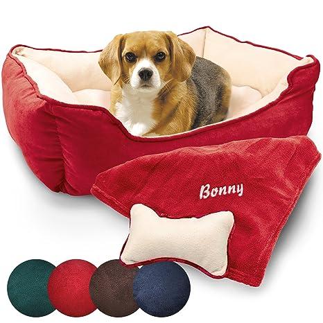 Cama para perros 3 piezas) Incluye Manta con nombres del Perro y bordado decoración cojín