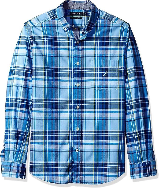 Nautica Camisa de manga larga con botones a cuadros de ajuste clásico para hombre: Amazon.es: Ropa y accesorios