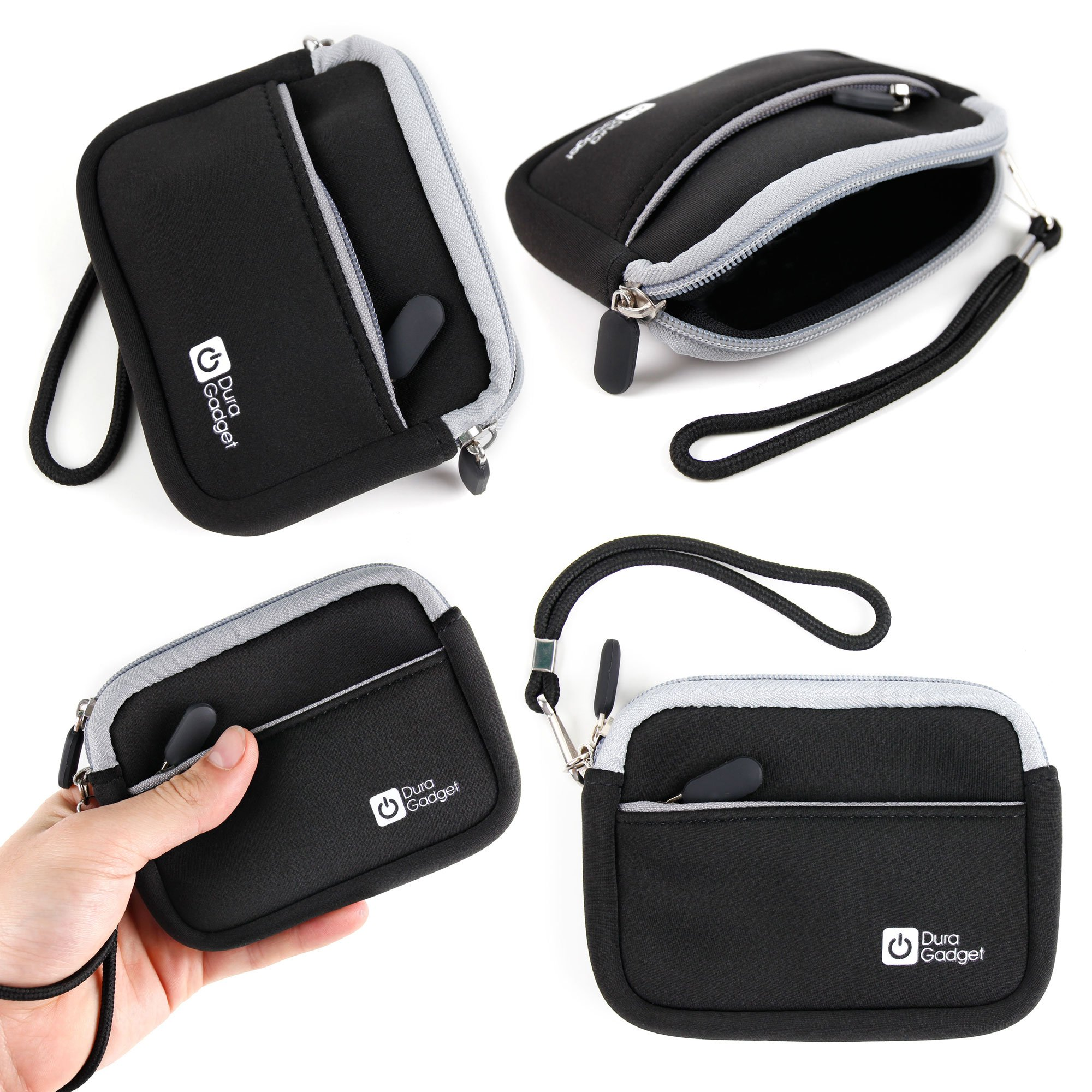 DURAGADGET Black Neoprene Case with Wrist Strap & Additional Storage for The Medion E49018