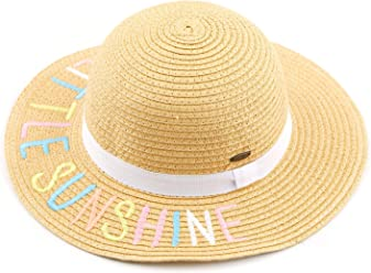 de35e16d C.C Straw Embroidered Lettering Floppy Brim Sun Kids Hat (KIDS-2017)