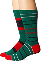 Stance Mens Unit 32 Holiday Stripe Arch Support Classic Crew Sock, Green, L