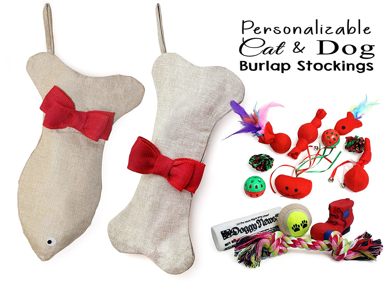 Stocking Pet Cat Dog for Christmas filled with Toys Bone Fish