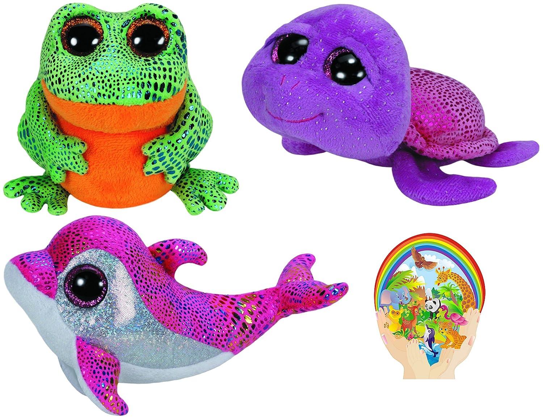 968bc4d8bc6 Beanie boos paillettes le dauphin slow poke la tortue et la grenouille  marine life lot de