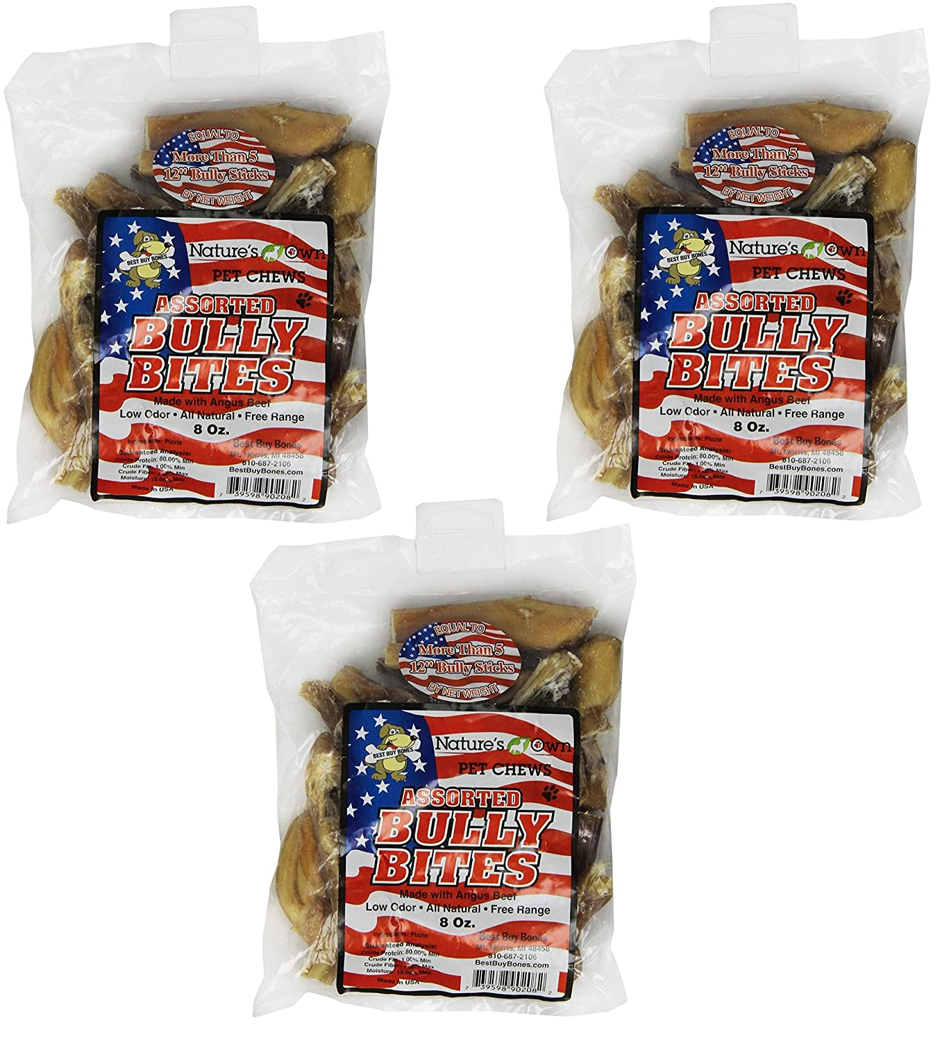 Best Buy Bones USA Made Bully Bites, 8-Ounce Bag Healthy Pet Chews for Dogs (3 Pack)