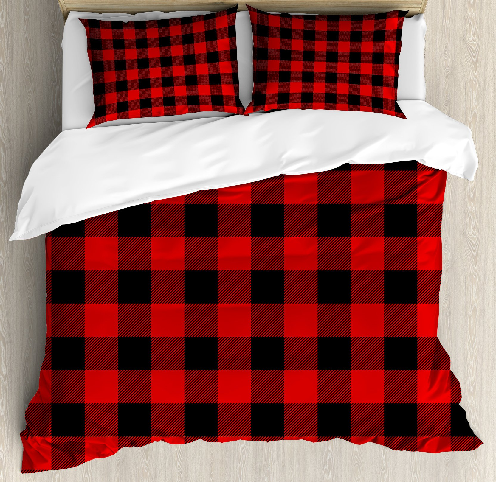 Red Plaid King Size Duvet Cover Set by Ambesonne, Lumberjack Clothing Inspired Square Pattern Checkered Grid Style Quilt Design, Decorative 3 Piece Bedding Set with 2 Pillow Shams, Scarlet Black