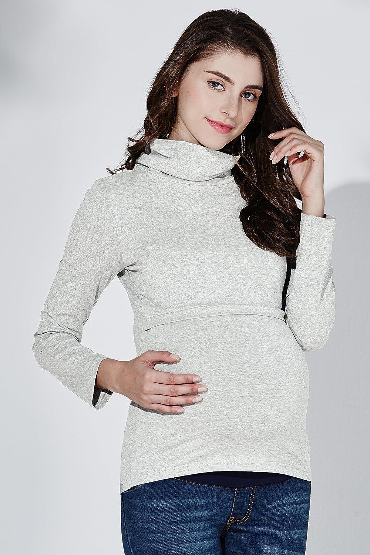 f4b45130e2240 Sweet Mommy Maternity and Nursing Long Sleeve Nursing Turtleneck Tee Top at  Amazon Women's Clothing store: Fashion Maternity T Shirts