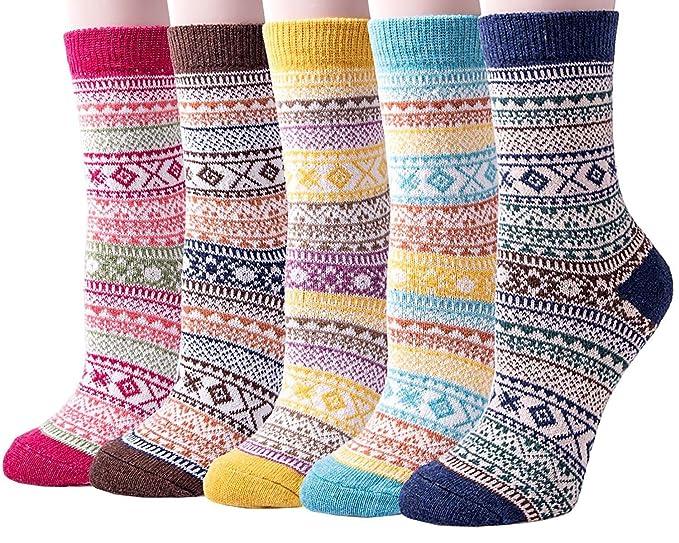 Vellette Calcetines mujeres calcetines de invierno caliente suave cómodo Calcetines de la historieta térmicos varios diseños