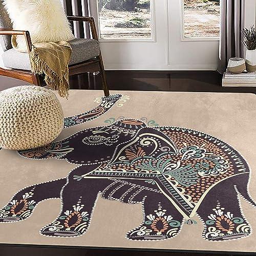 ALAZA Vintage Ethnic Indian Elephant Artwork Area Rug Rug