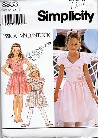 14b341b88 Simplicidad de las niñas Jessica mcclintack Formal vestido patrón de costura  tamaño 7 - 8-10 flores niña vestido: Amazon.es: Juguetes y juegos