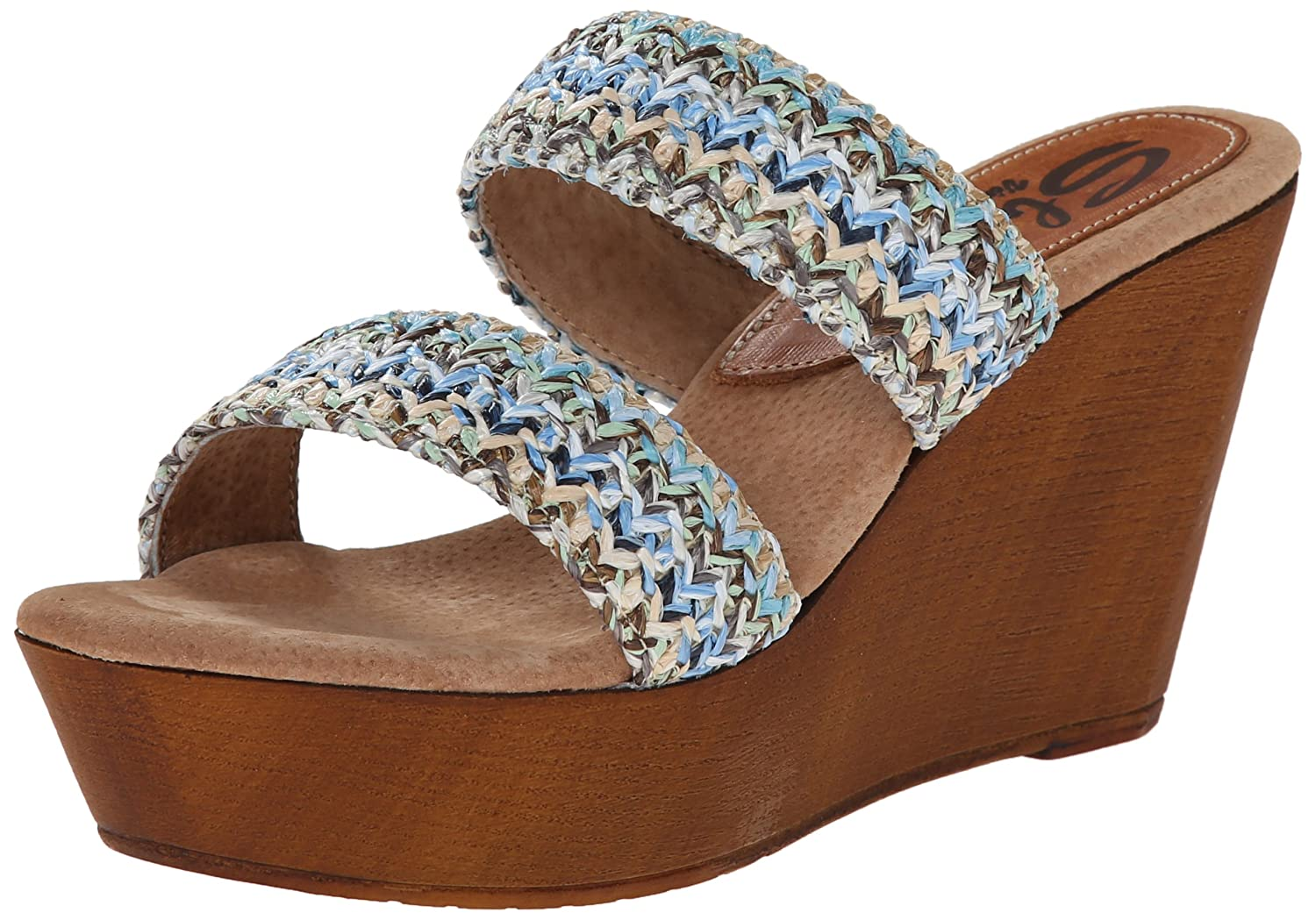 Sbicca Women's Lighthouse Wedge Sandal B00O1BK54K 8 B(M) US|Blue/Multi