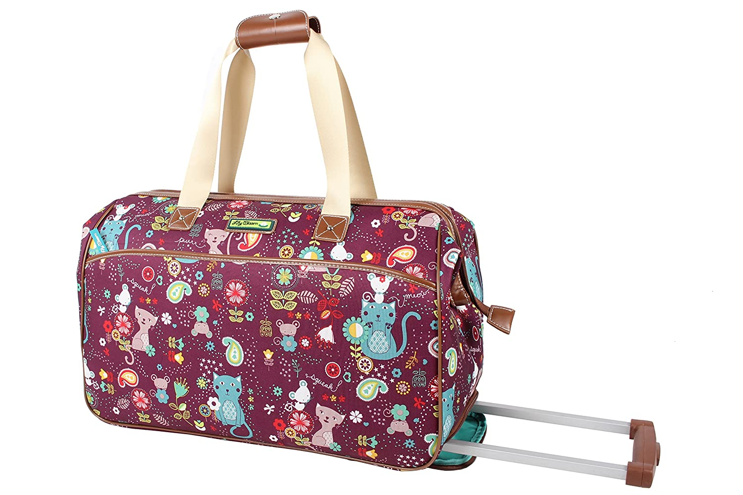 Lily Bloom Designer Pattern Wheeled Duffel Carry On Bag Cat and Mouse)