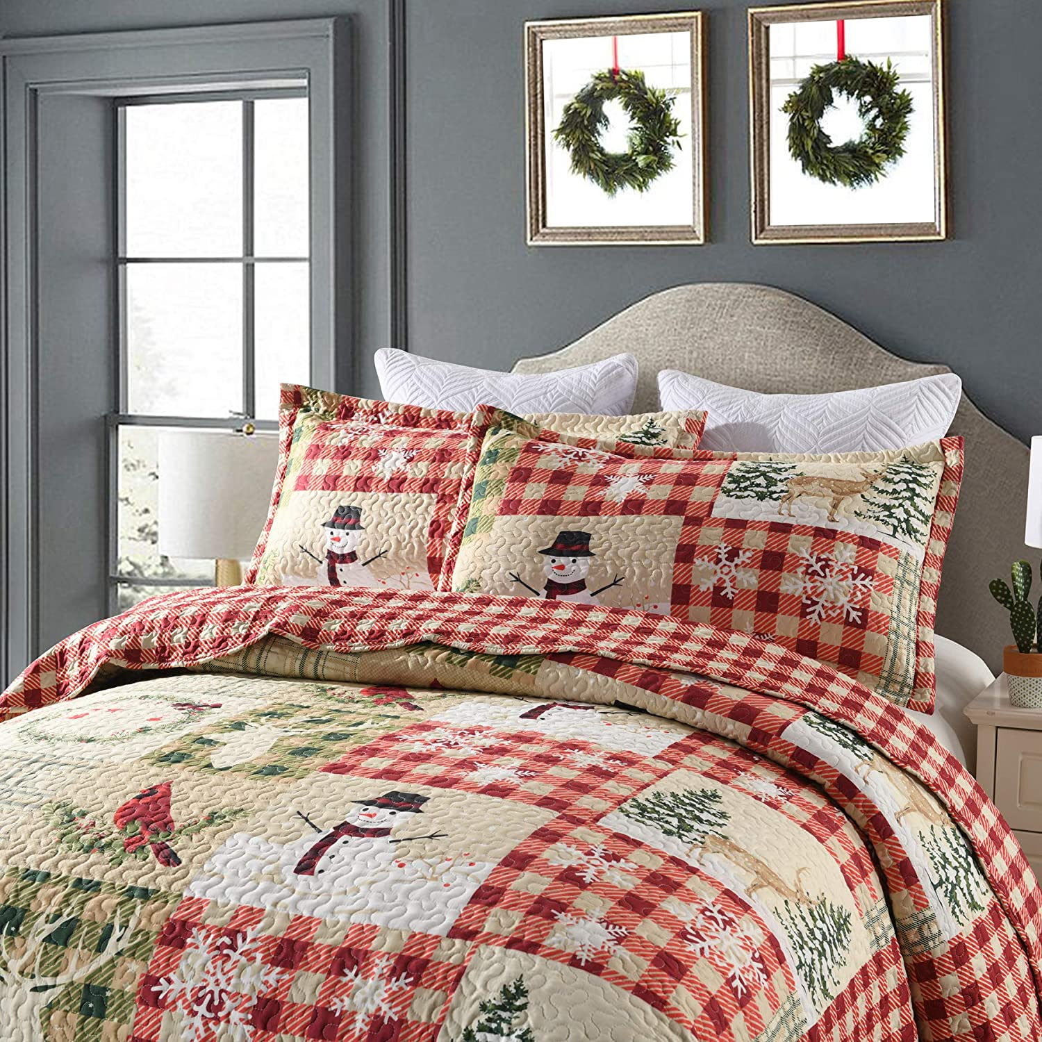 Quilt Set Bedding Throw Blanket Coverlet Lightweight Bedspread Ensemble/Snowman Quilt (King)