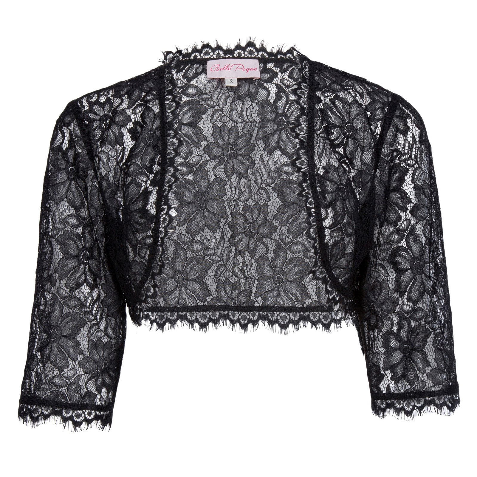 JS Fashion Vintage Dress Womens 3/4 Sleeve Lace Bolero Shrug Plus Size(3XL, Black)