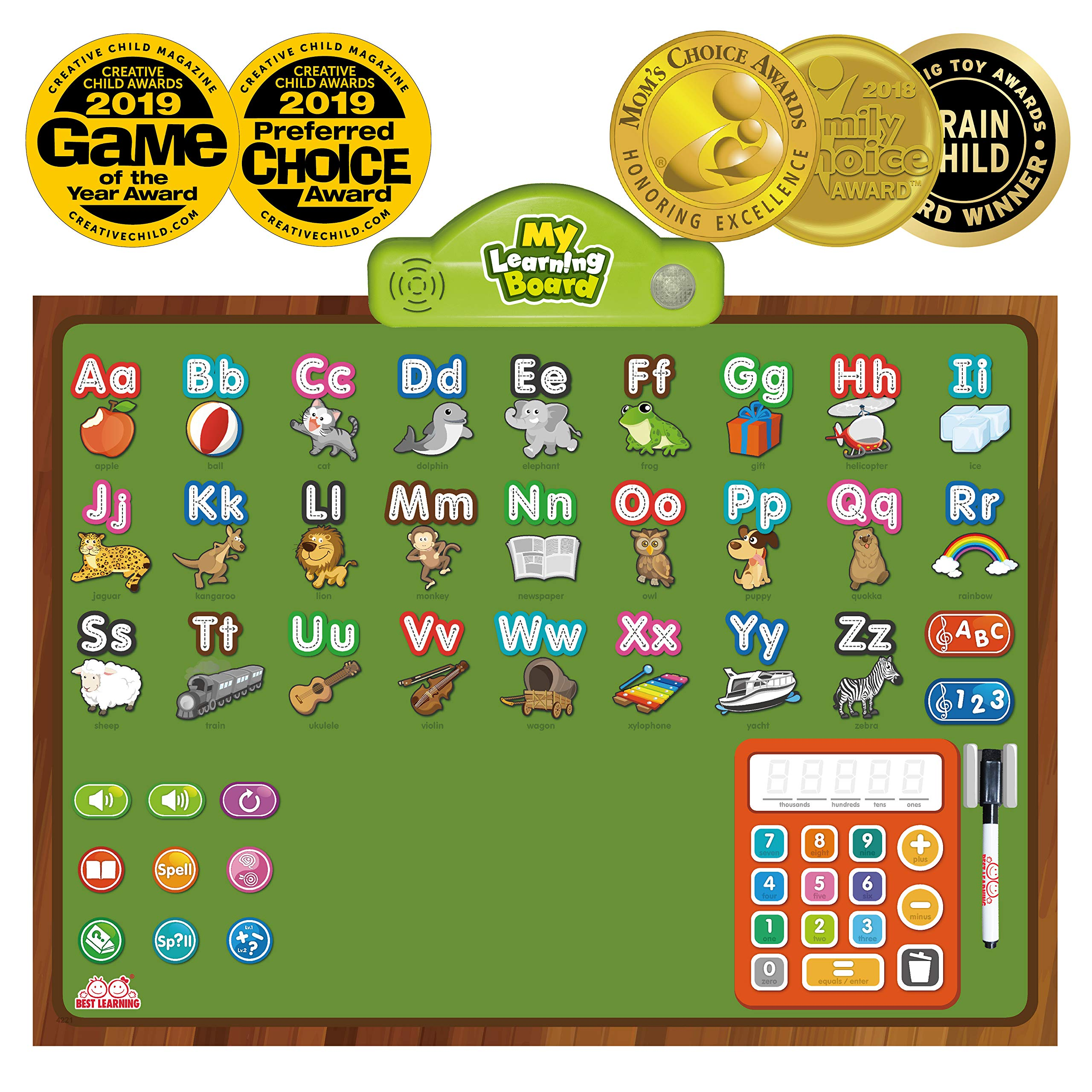 BEST LEARNING i-Poster My Learning Board - Electronic Interactive Educational Talking Alphabet Numbers Music Poster Toy for Kids Boys & Girls 2 3 4 5 6 Years Old Daycare Preschool Kindergarten