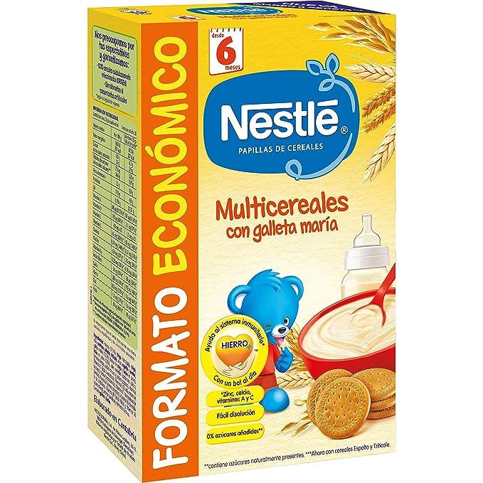Nestlé - Multicereales con galleta María - Papilla de cereales instantánea de fácil disolución - 500 g: Amazon.es: Alimentación y bebidas