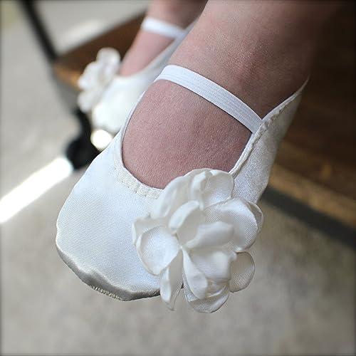 7cd3cc617d Amazon.com: Handmade Satin Flower Girl Shoes, Gold, Ivory, or White ...
