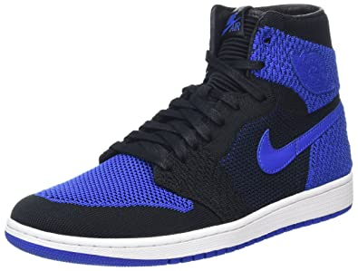 5f3a7b3aea296 Jordan Nike Mens Air 1 High Flyknit Basketball Shoes Black Game Royal White  919704
