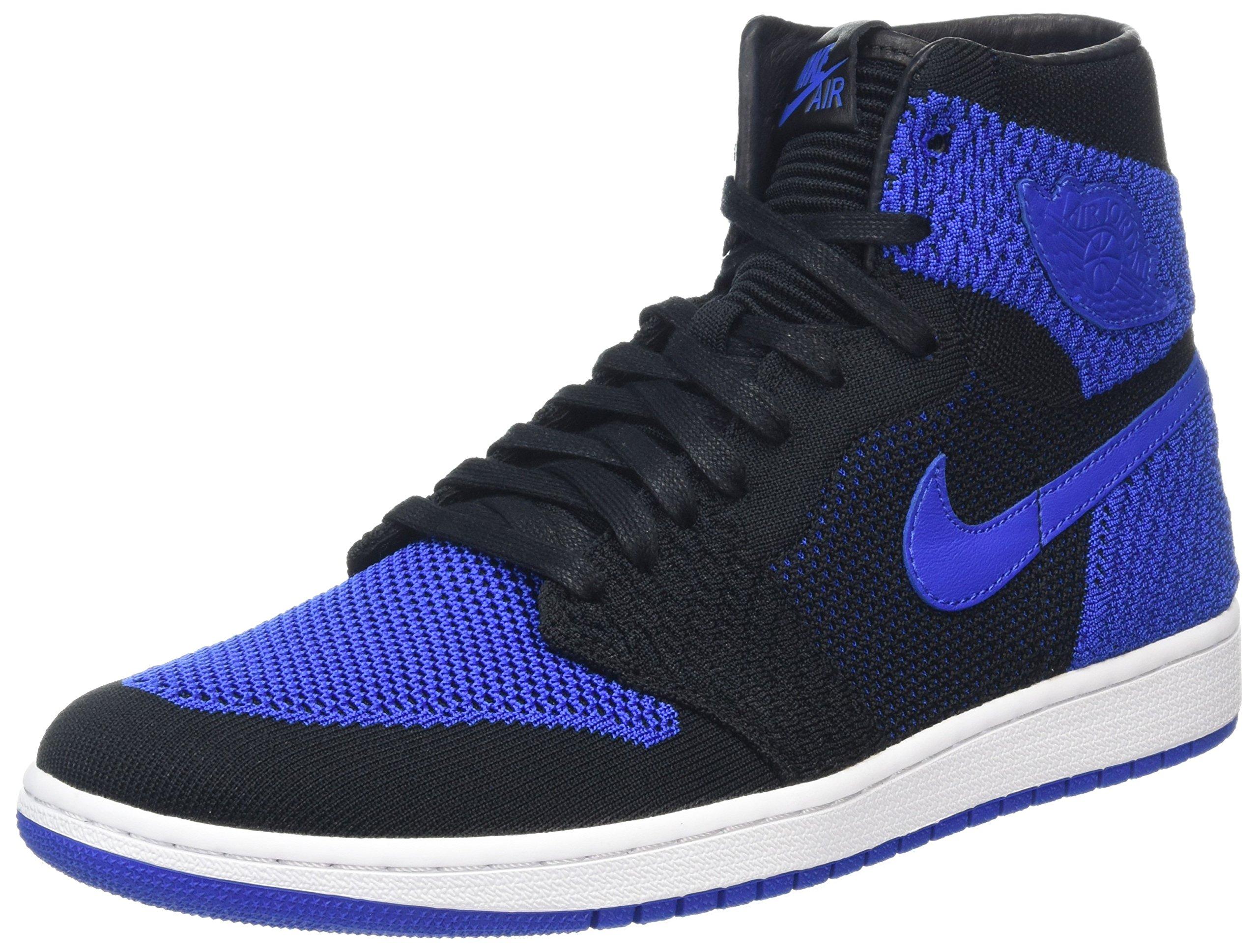 60e9a0282df Galleon - Jordan Nike Mens Air 1 High Flyknit Basketball Shoes Black Game  Royal White 919704-006 Size 12