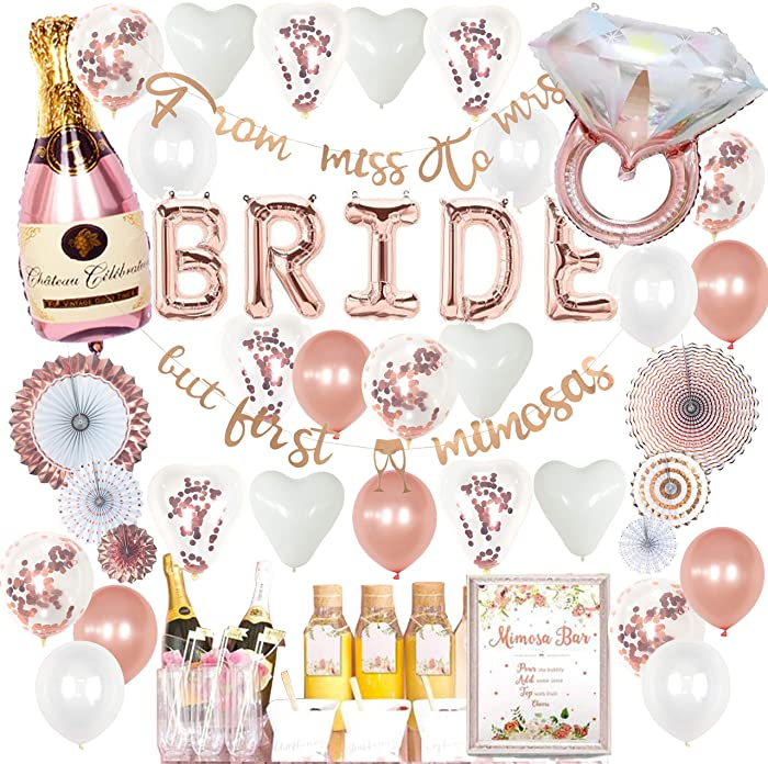 VIDAL CRAFTS Rose Gold Bridal Shower Decorations, Bachelorette Party Decor, Balloon Garland, Paper Fans, BRIDE Foil Balloon, Miss to Mrs, But First Mimosas Banners, Ring, Champagne Foil Balloons