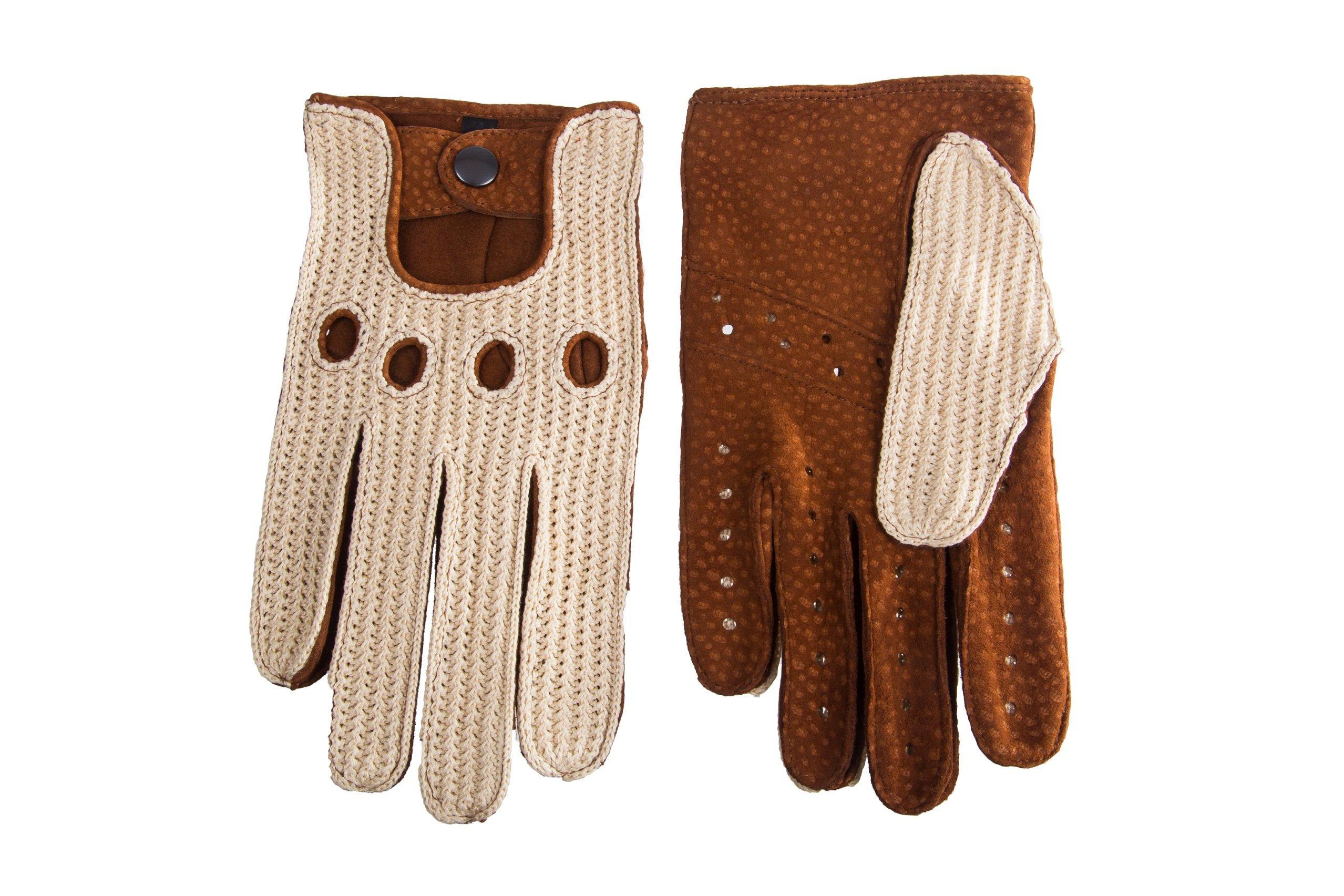 Men's Wild Leather Driving Gloves Carpincho Crochet Cork (9, Cognac)