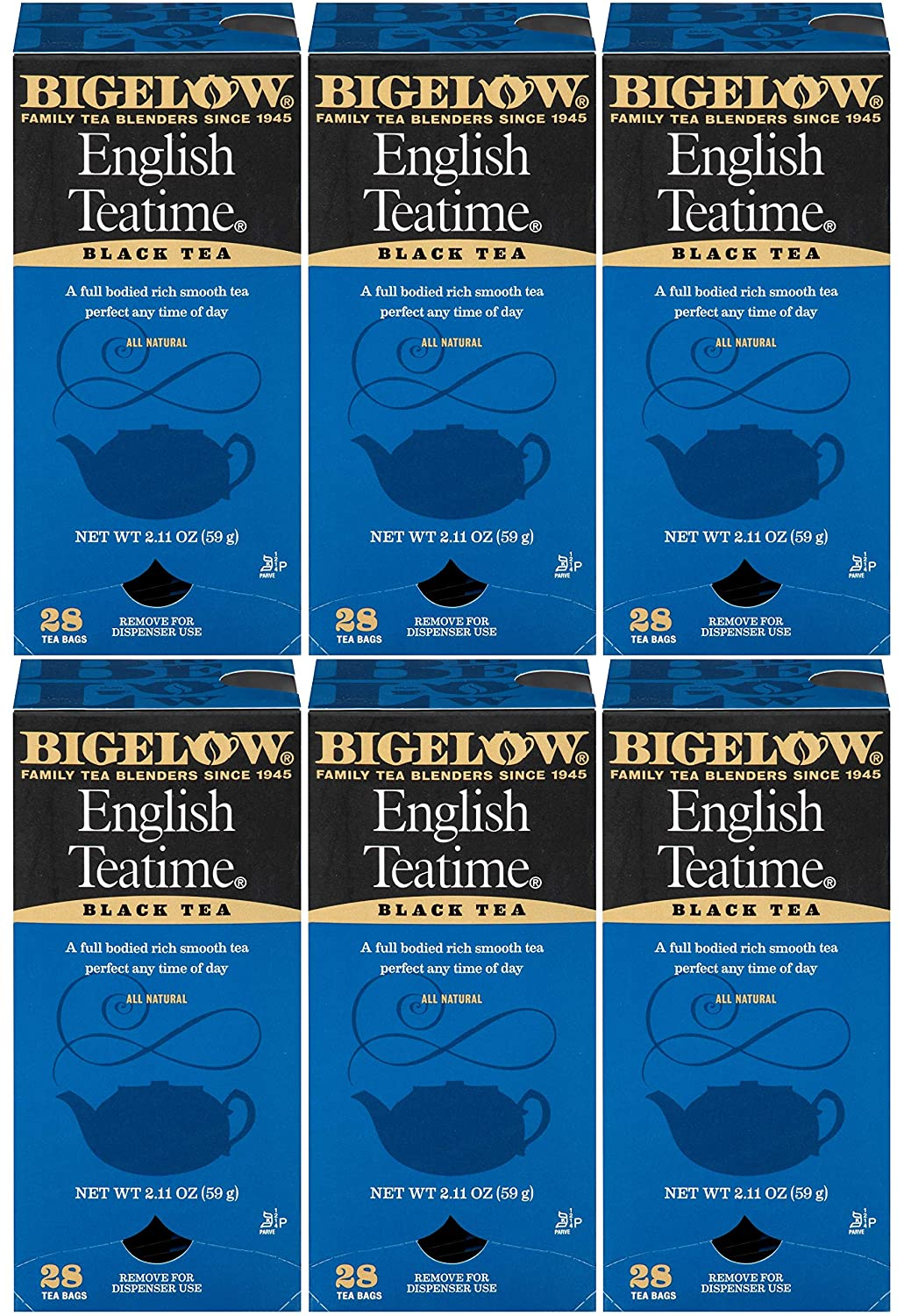 Bigelow English Teatime Tea 28-Count Boxes (Pack of 6) Full Caffeine Premium Black