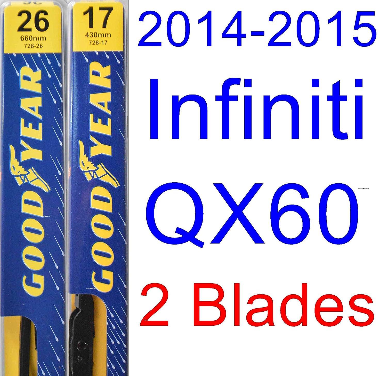2014 - 2015 Infiniti QX60 hoja de limpiaparabrisas de repuesto Set/Kit (Goodyear limpiaparabrisas blades-premium): Amazon.es: Coche y moto