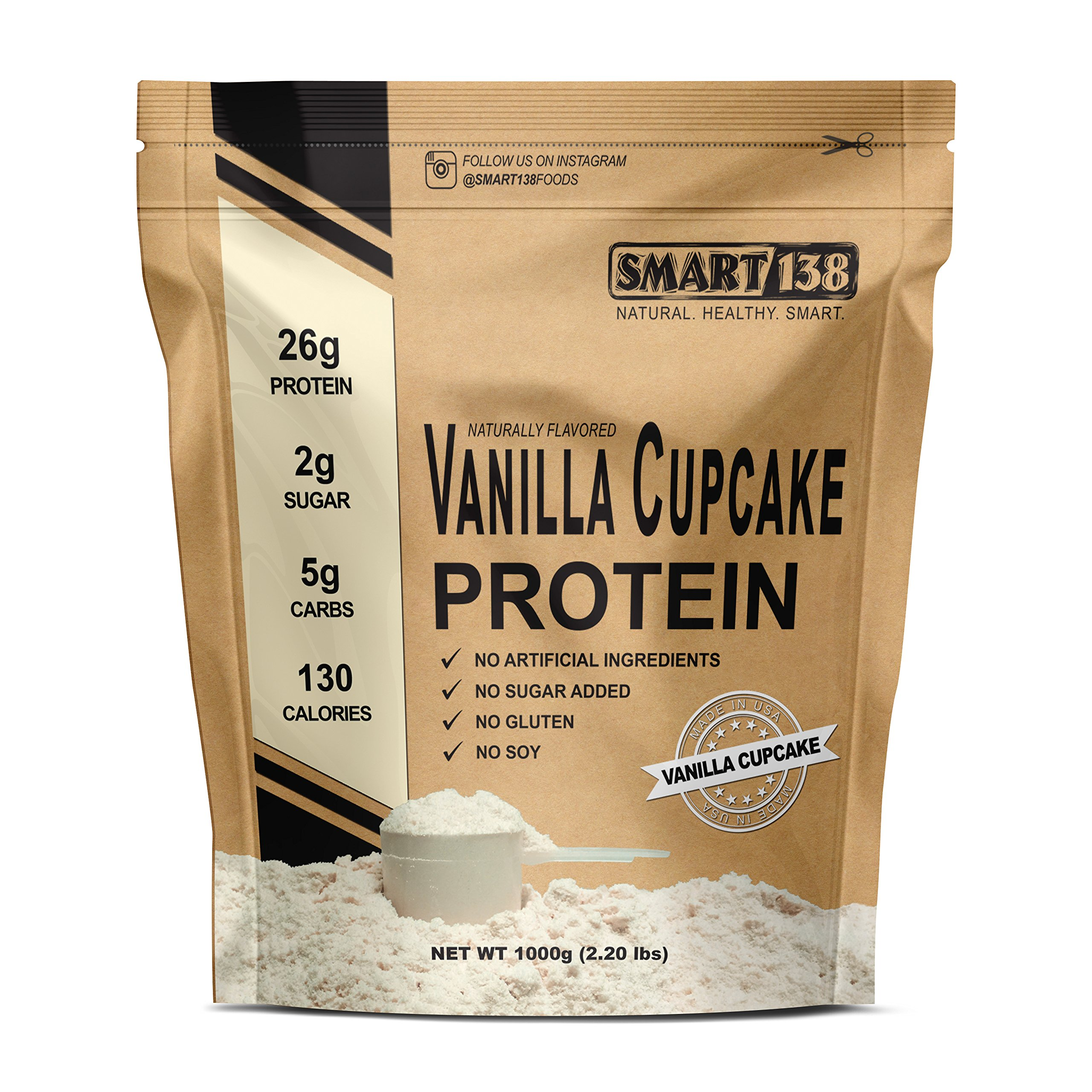 Vanille Cupcake Natural Protein Powder, Gluten-Free, Soy-Free, USA, Keto (Low Carb), Natural BCAAs by Smart138