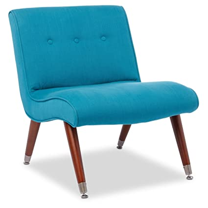 Beau ModHaus Mid Century Accent Armless Chair Teal Upholstered With Brown Solid  Wood Legs   Includes Living