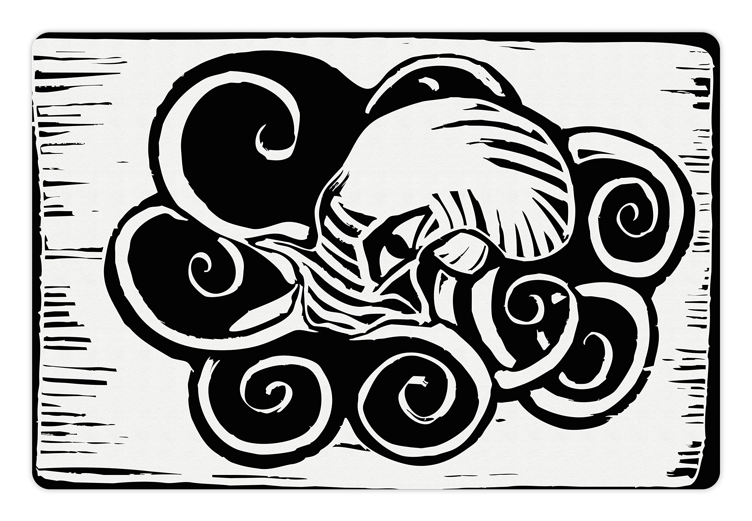 Lunarable Octopus Pet Mat for Food and Water, Ocean Wildlife Themed Animal with Tentacles Sitting in a Pool of Ink Sketch, Rectangle Non-Slip Rubber Mat for Dogs and Cats, Black and White by Lunarable (Image #1)