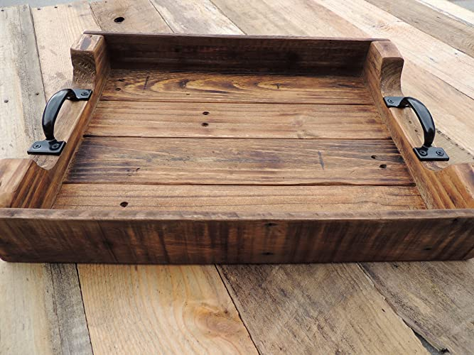 Rustic Wood Coffee Table Ottoman Serving Tray   Large