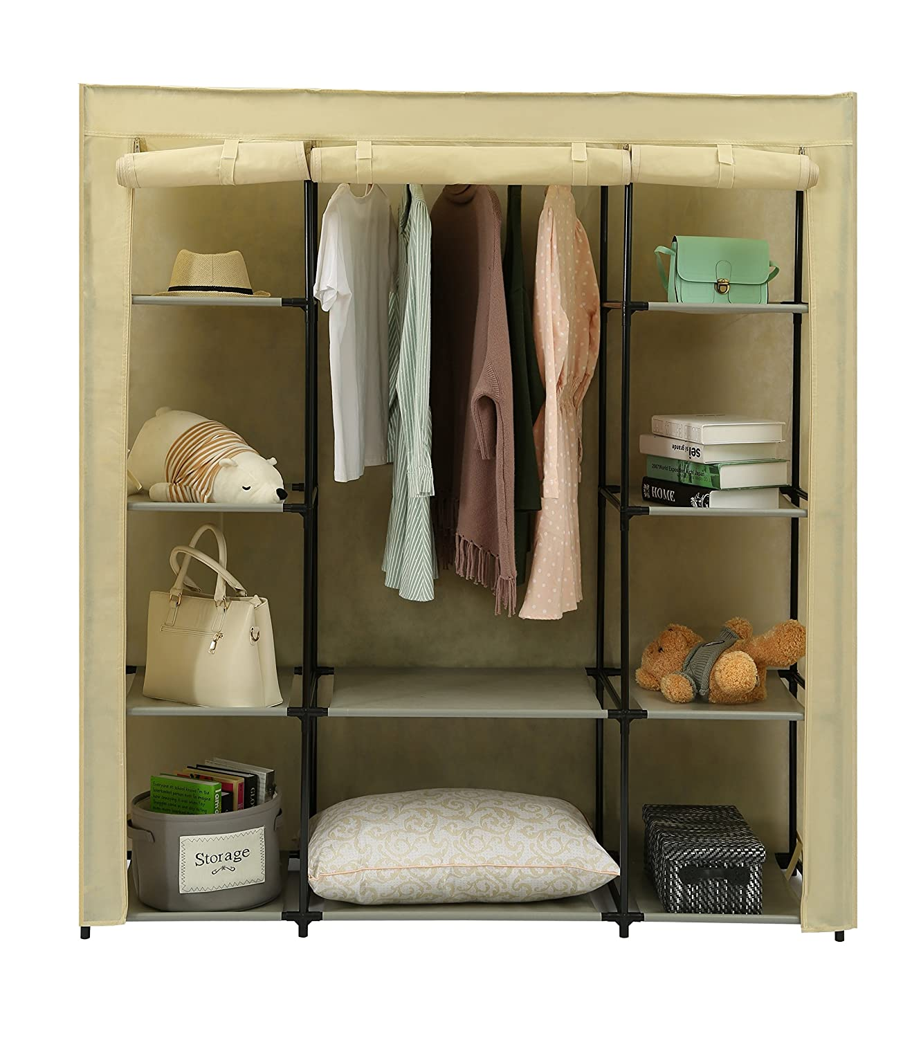 "Homebi Clothes Closet Portable Wardrobe Durable Clothes Storage Organizer Non-woven Fabric Cloth Storage Shelf with Hanging Rod and 10 Shelves for Extra Storage in Beige, 59.05""W x 17.72"" D x 65.4""H"