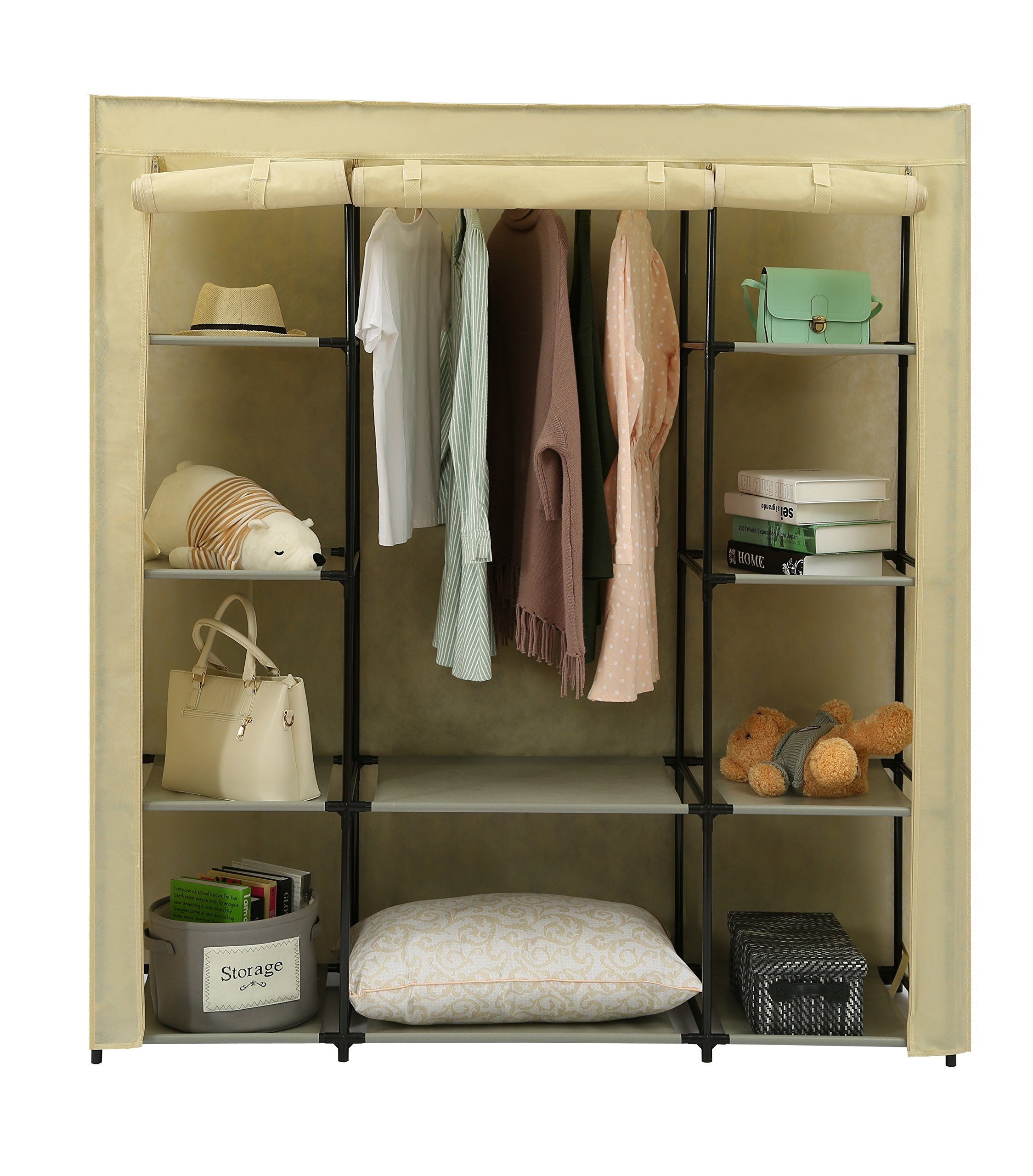 """Homebi Clothes Closet Portable Wardrobe Durable Clothes Storage Organizer Non-woven Fabric Cloth Storage Shelf with Hanging Rod and 10 Shelves for Extra Storage in Beige, 59.05""""W x 17.72"""" D x 65.4""""H"""